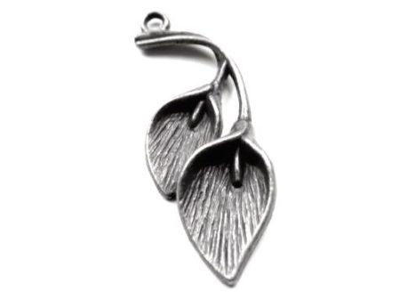 Kála antik ezüst fémveret - 38x14 mm