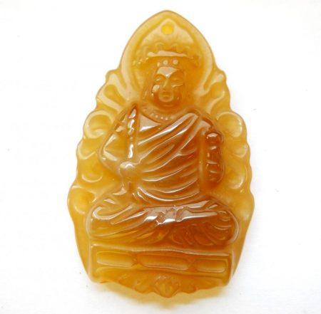Faragott buddha kaboson - 42*27 mm - fúrt (karneol)