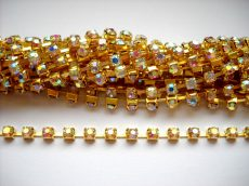 Strasszlánc - 3,2 mm - crystal AB -arany - 25 cm