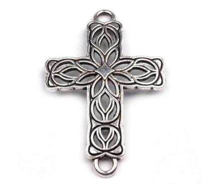 Kelta kereszt - antik ezüst medál - 42x27 mm