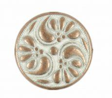 Kerek virágmintás fémgomb - 12 mm - bronz patina