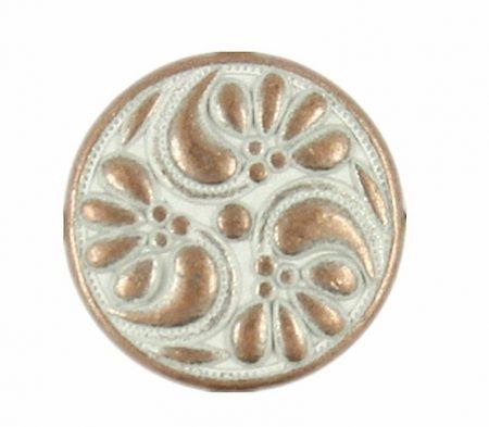 Kerek virágmintás fémgomb - 18 mm - bronz