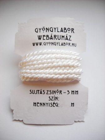 Sujtás zsinór - 2,8 mm - sodrott - fehér (#1101)