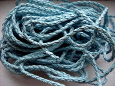 Braided leather cord 3mm - 0.5 m - light blue