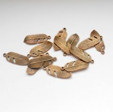Charm - feather -copper - 24*9 mm