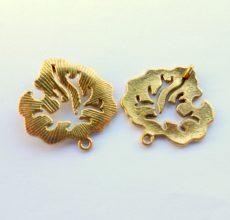 Levél medál - 30*28 mm - antik arany
