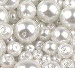 Cseh üveg tekla gyöngy - 8 mm - 20 db/cs - fehér