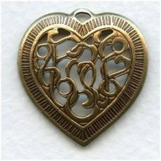 Brass heart pendant - 30x26 mm