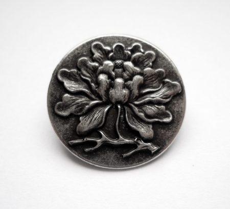 Virágmintás fémgomb - 23 mm