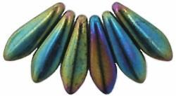 Cseh dárdagyöngy - 16*5 mm - Metallic Iris Green
