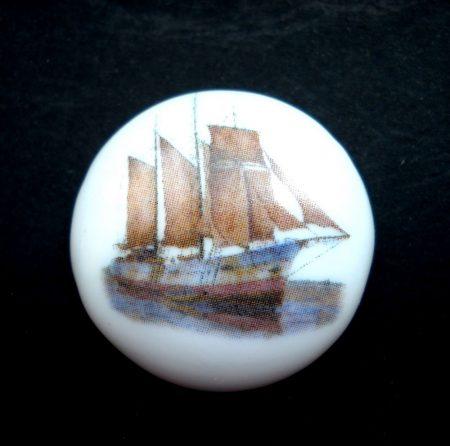 Porcelán kaboson - 30 mm - vitorlás hajók 1#