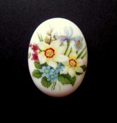 Porcelán kaboson - 40*30 mm - tavaszi csokor 4#