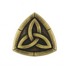 Háromszög kelta mintás fémgomb - 20 mm - bronz