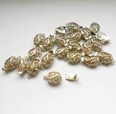 Ovális kapocs - strasszos ezüst - 14*9 mm