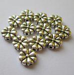 Fémgyöngy  - 10 mm - antik ezüst virág