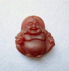Faragott buddha kaboson - 30*20 mm - fúrt (karneol)