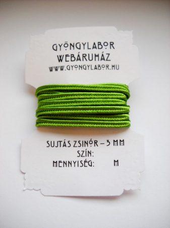 Sujtás zsinór - 3 mm - fényes - citromzöld (#39)