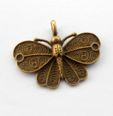 Butterfly pendant 40x32 mm - bronze