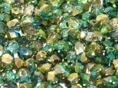 Cseh csiszolt gyöngy - 4 mm - Crystal Sunny Magic Summer Green - #98003