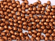 Cseh csiszolt gyöngy - 4 mm - Copper  - #01750