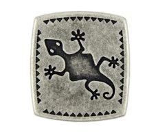 Szögletes gekkó mintás fémgomb - 25x22 mm - antik ezüst