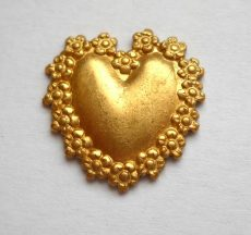 Heart - brass stamping- 16x16mm