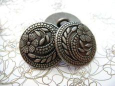 Antique finish metal shank button - 32 mm - patina