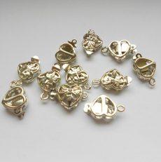 Szív kapocs - strasszos ezüst - 14*9 mm