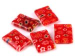 Millefiori glass bead - 18x13 mm - red
