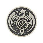 Kerek nagy kelta sárkány mintás fémgomb - 25 mm - antik ezüst