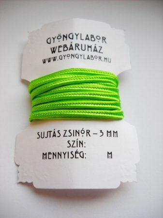 Sujtás zsinór - 3 mm - fényes - neonzöld (#22)
