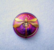 Czech handpainted glass button 38 mm