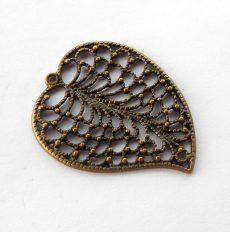 Leaf charm - 46*30 mm - bronze