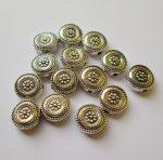 Fémgyöngy  - 11 mm - antik ezüst diszk