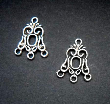 Tibeti ezüsti fülbevaló alap -  20*18 mm (1 pár)