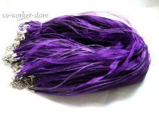 Organza multiszalag delfinkapoccsal, lánchosszabbítóval - 45 cm- sötét lila