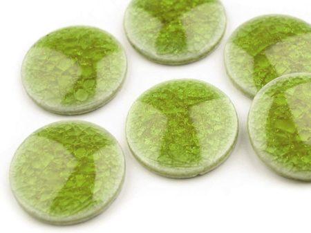 Kerámia kaboson - 20 mm - roppantott üveg felülettel - zöld
