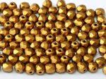 Cseh csiszolt gyöngy - 4 mm - Brass Gold  - #01740