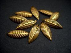 Brass leaf charm - 20*8 mm