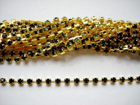 Strasszlánc - 2,8 mm - smaragd -arany - 25 cm