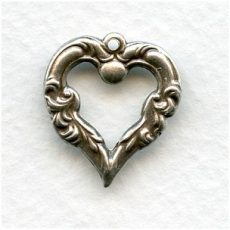 Brass heart stamping - 28x22 mm