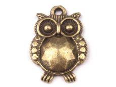 Bagoly medál - 20x14 mm - bronz