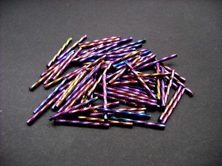 Csavart szalmagyöngy - 30 mm - metál írisz lila