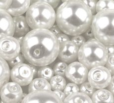 Czech glass pearl - 12 mm - 4 pcs/pack - white