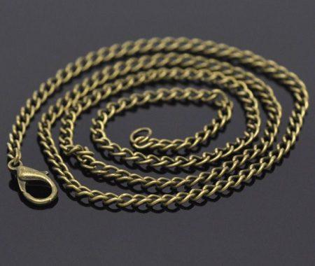 Bronz színű lánc delfinkapoccsal - 50 cm (3.5x2.6 mm)
