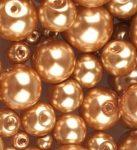 Cseh üveg tekla gyöngy - 8 mm - 20 db/cs - világos bronz