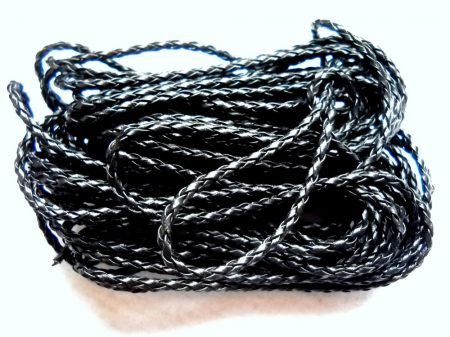 Braided leather cord 3mm - 0.5 m - black