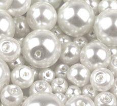 Cseh üveg tekla gyöngy - 6 mm - 25 db/cs - fehér
