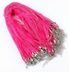 Organza multiszalag delfinkapoccsal, lánchosszabbítóval - pink