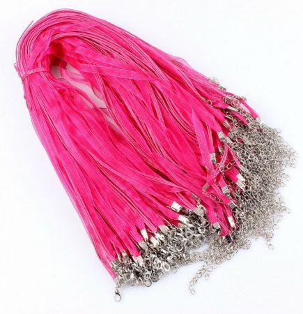 Organza multiszalag delfinkapoccsal, lánchosszabbítóval - rózsaszín